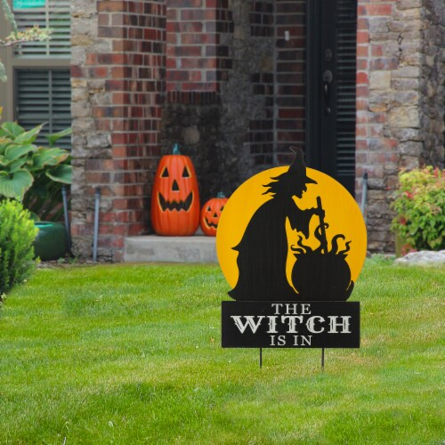 Glitzhome Halloween The Witch Is In Yard Stake Decor Perspective: left