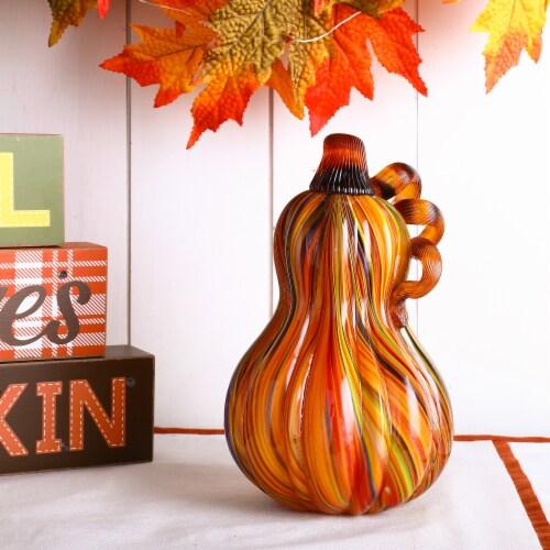 Glitzhome Multi-Striped Glass Pumpkins Perspective: left