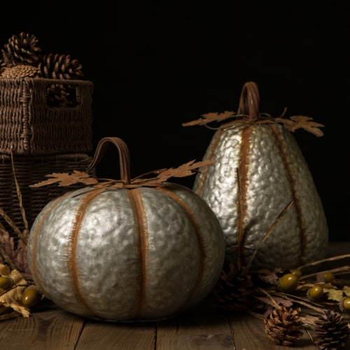 Glitzhome Galvanized Metal Pumpkins Perspective: left