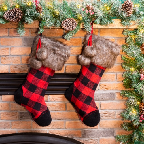 Glitzhome Fur Buffalo Plaid Stockings -  Black/Red Perspective: left