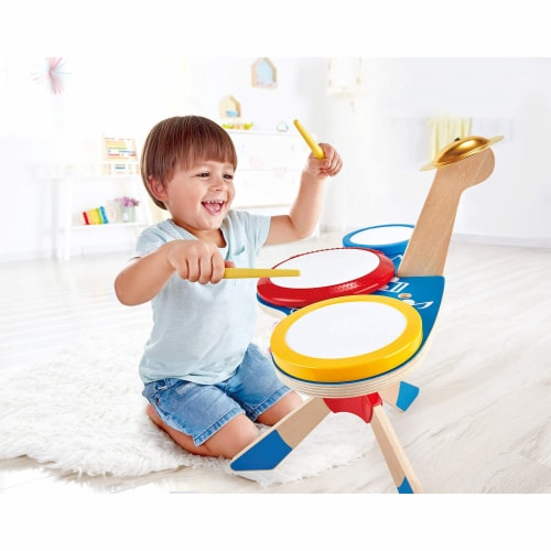 Hape Drum and Cymbal Instrument Play Set w/ 2 Drum Sticks for Kids Ages 3 and Up Perspective: left