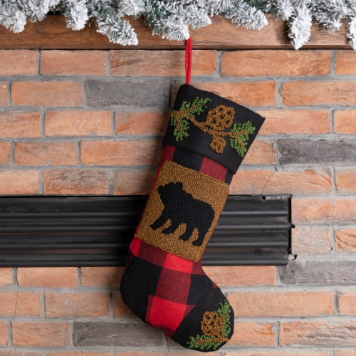 Glitzhome Bear Plaid Stocking Perspective: left