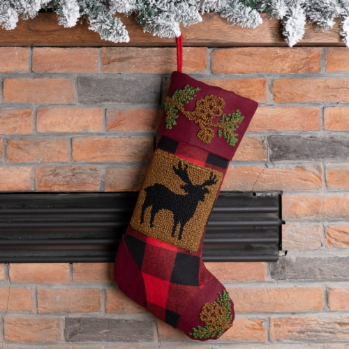 Glitzhome Reindeer Plaid Christmas Stocking Perspective: left