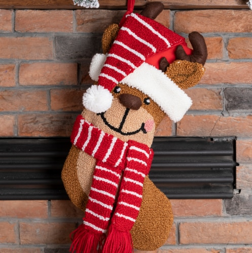 Glitzhome Reindeer Hooked Christmas Stocking Perspective: left