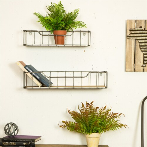 Glitzhome Rustic Wooden & Metal Wall Shelves Pair Perspective: left