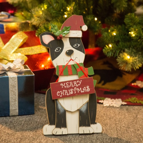 Glitzhome Wooden Dog Figurine Christmas Decor - Black/Red Perspective: left