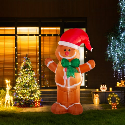 Glitzhome Lighted Inflatable Gingerbread Man Christmas Decor Perspective: left