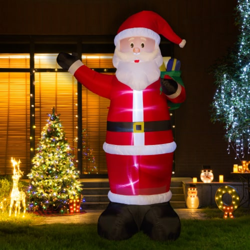Glitzhome  Lighted Inflatable Santa Holiday Decor Perspective: left