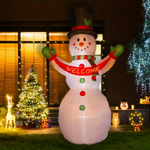 Glitzhome Lighted Inflatable Snowman Welcome Christmas Decor Perspective: left