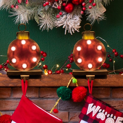 Glitzhome Marquee LED Ornament Stocking Holder Perspective: left