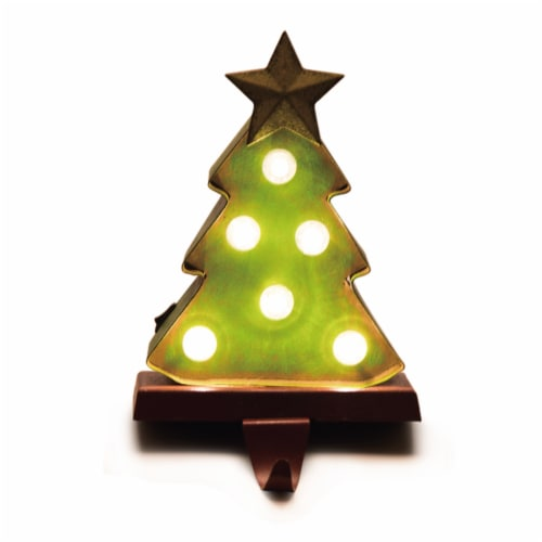 Glitzhome Wood and Metal Christmas Tree Stocking Holder with LED Lights Perspective: left