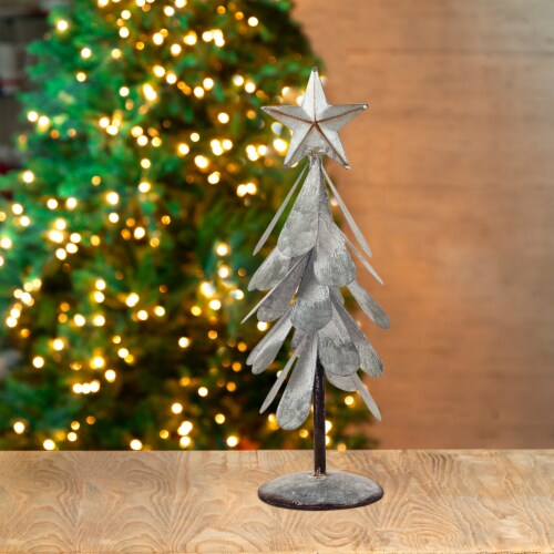 Glitzhome Galvanized Metal Christmas Tree Decor - Silver Perspective: left