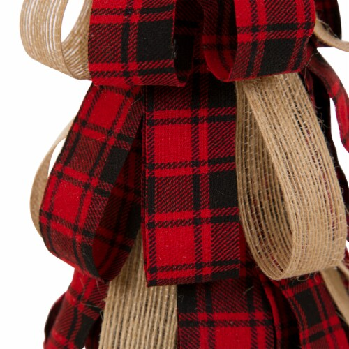 Glitzhome Plaid Fabric/Burlap Christmas Table Tree Decoration Perspective: left