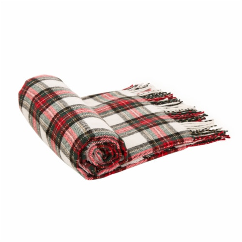 Glitzhome Acrylic Plaid Woven Tassel Throw Blanket - Red/White Perspective: left