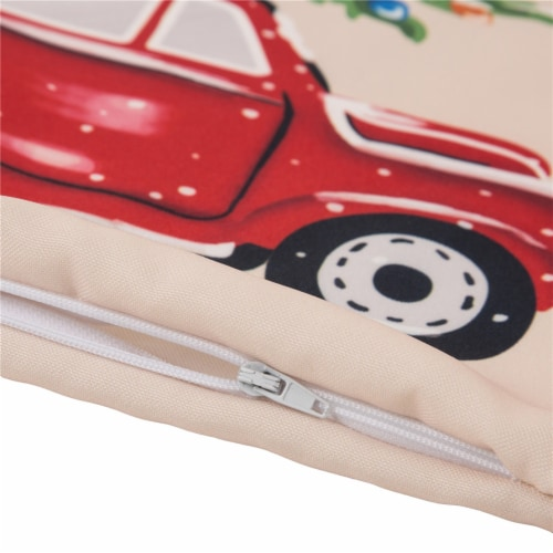 Glitzhome Polyester Truck Square Throw Pillow Cover - Red Perspective: left