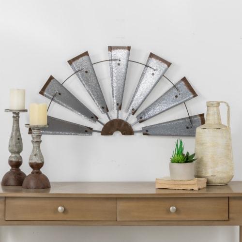 Glitzhome Galvanized Half Windmill Spinner Wall Decor Perspective: left