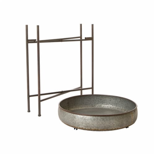 Glitzhome Farmhouse Shelf With Removable Tray - Galvanized Metal Perspective: left