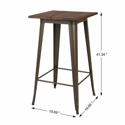 Glitzhome Rustic Steel Bar Table with Elm Wood Top - Coffee Perspective: left