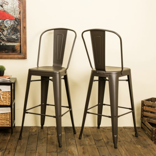 Glitzhome Rustic Steel Backrest Bar Stools with High Back - Set of 2 - Coffee Perspective: left