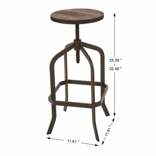 Glitzhome Rustic Metal Revolving Stool with Elm Wood Seat - Coffee Perspective: left