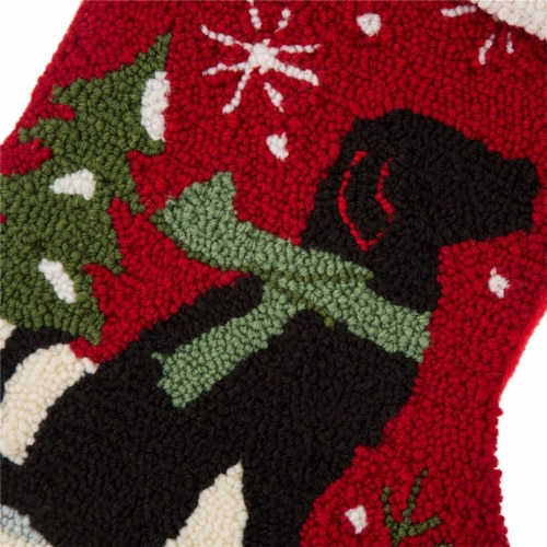 Glitzhome Dog Hooked Christmas Stocking Perspective: left