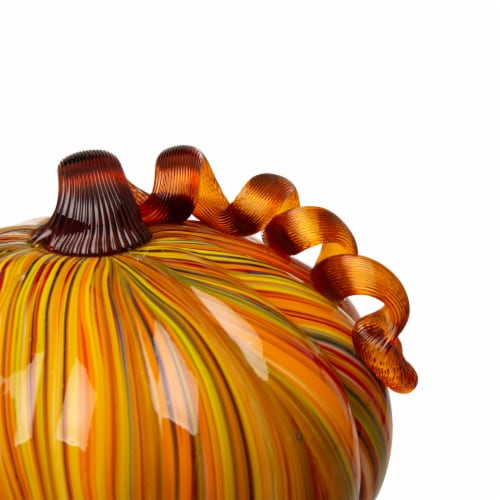 Glitzhome Glass Short Pumpkin - Striped Perspective: left