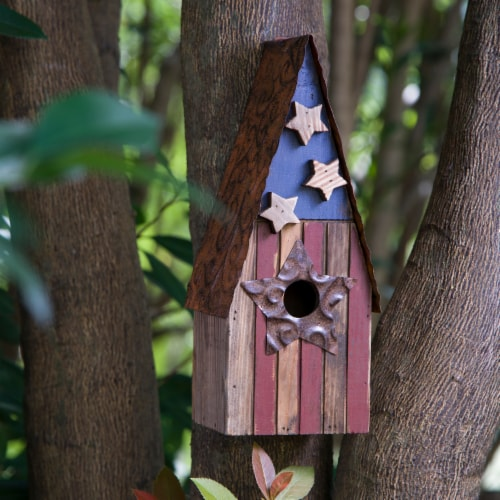 Glitzhome Wood and Metal Rustic Bird House Perspective: left