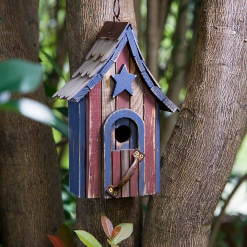 Glitzhome Hanging Distressed Solid Wood Birdhouse Perspective: left