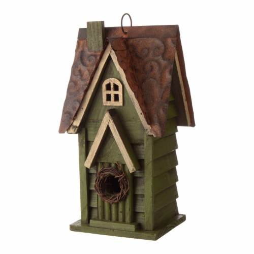 Glitzhome Distressed Solid Wood & Metal Birdhouse Perspective: left