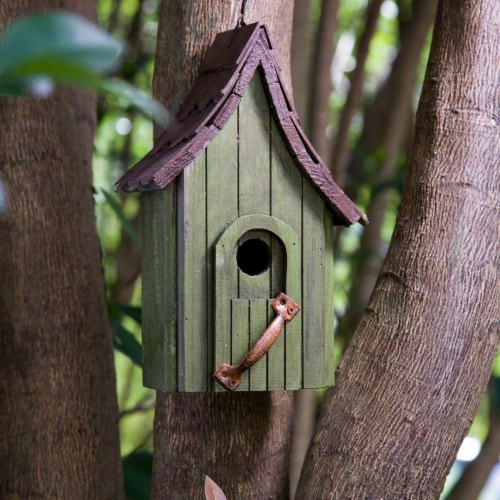 Glitzhome Hanging Distressed Wooden Birdhouse Perspective: left