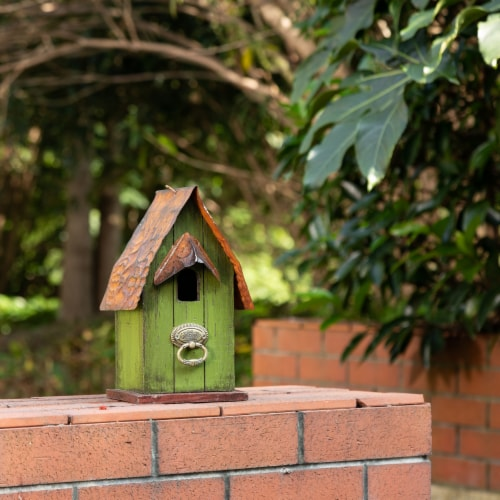 Glitzhome Rustic Garden Bird House Perspective: left