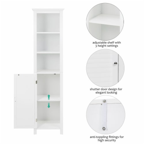 Glitzhome Wooden Storage Cabinet - White Perspective: left
