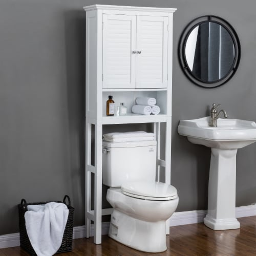 Glitzhome Wooden Drop Door Bathroom Cabinet Space Saver - White Perspective: left
