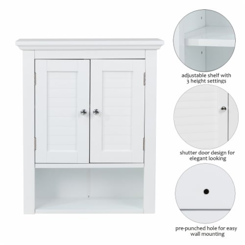 Glitzhome Wooden Wall Cabinet with Double Doors - White Perspective: left