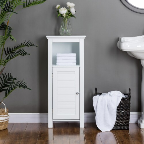Glitzhome Wooden Floor Cabinet with Shutter Door - White Perspective: left