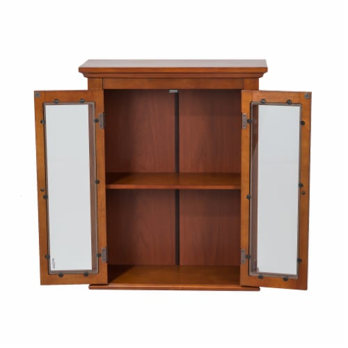 Glitzhome Wooden Wall Cabinet with Double Doors - Russet Perspective: left