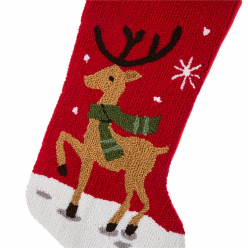 Glitzhome Reindeer Christmas Stocking Perspective: left