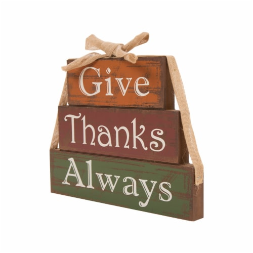 Glitzhome Wooden Give Thanks Always Three Block Set Perspective: left