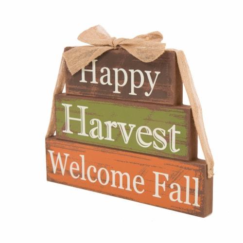 Glitzhome Wooden Happy Harvest Block Set Perspective: left