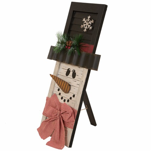 Glitzhome Wooden Snowman Shutter Decoration Perspective: left