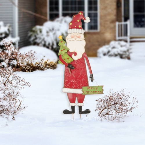 Glitzhome Metal Santa Yard Stake Decor Perspective: left