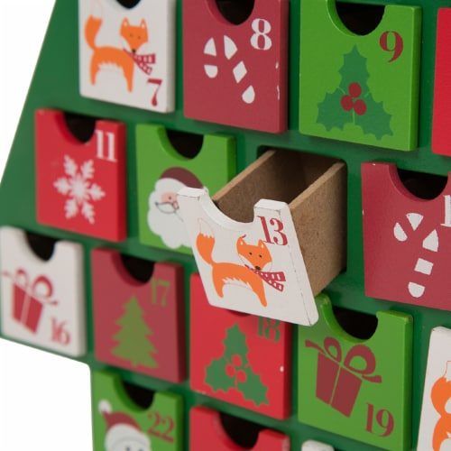 Glitzhome Wooden Christmas Tree Advent Calendar with Drawers Perspective: left