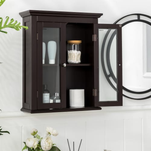 Glitzhome Wooden Wall Cabinet with Double Doors - Espresso Perspective: left