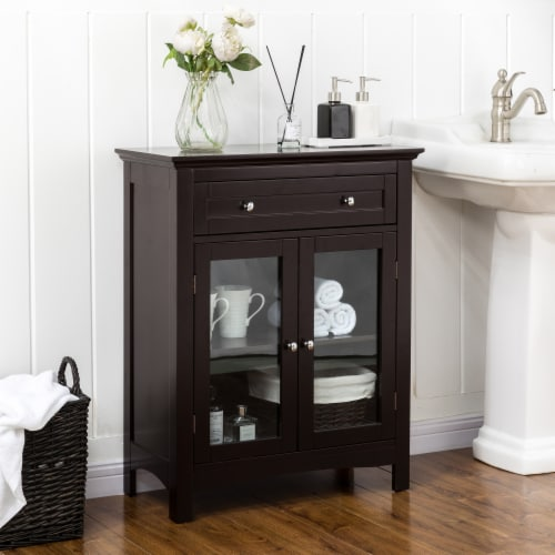 Glitzhome Shelved Floor Cabinet with Double Doors - Espresso Perspective: left