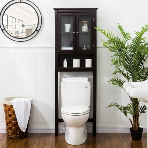 Glitzhome Wooden Drop Door Bathroom Cabinet Spacesaver - Espresso Perspective: left