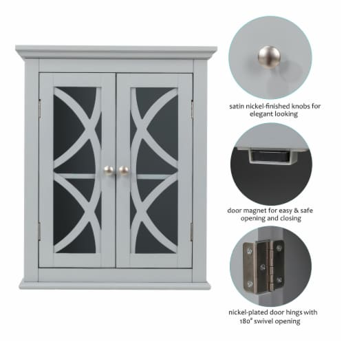 Glitzhome Wooden Wall Cabinet with Double Doors - Gray Perspective: left