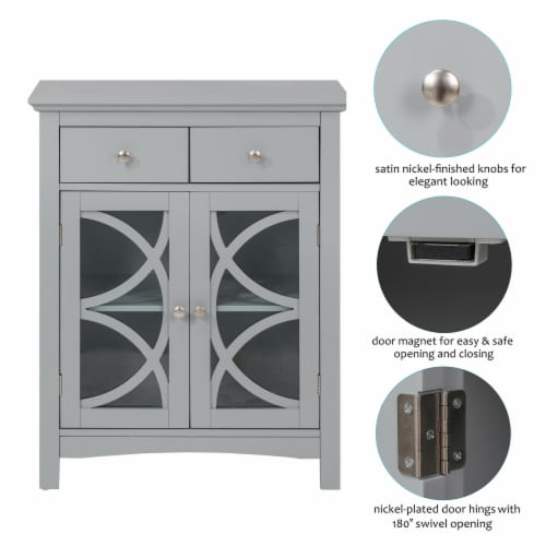 Glitzhome Floor Cabinet with Double Doors and Drawer - Gray Perspective: left