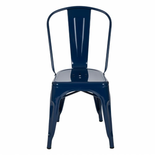 Glitzhome Rustic Metal Side Chair - Navy Blue Perspective: left