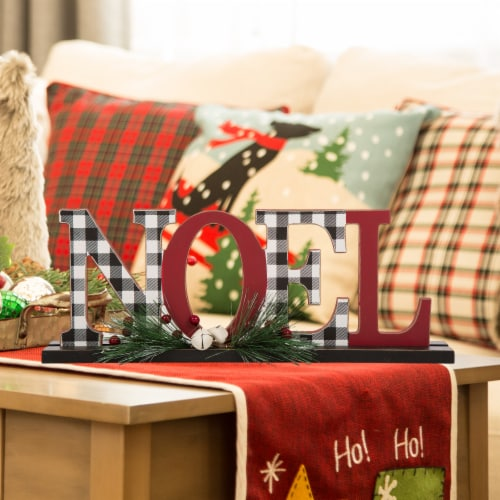 Glitzhome Wooden Plaid Noel Table Decor Features with Red Berries Perspective: left