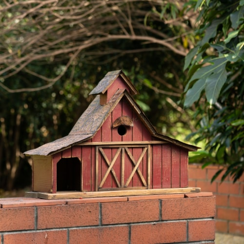 Glitzhome Extra-Large Rustic Wood Barn Birdhouse Perspective: left